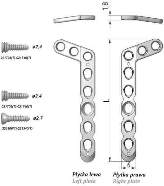 """Płytka blokowana """"L"""" ukośna, do nasady dalszej kości promieniowej (szeroka)"""