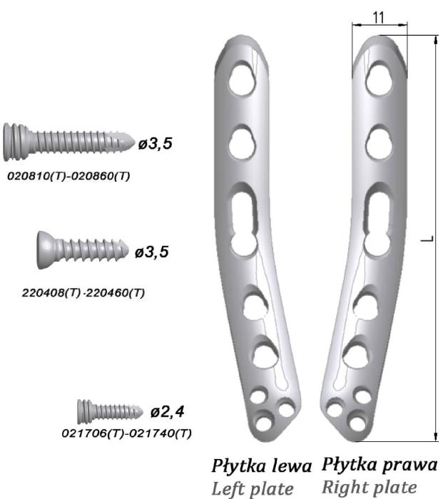Płytka blokowana do nasady dalszej kości ramiennej, przyśrodkowa