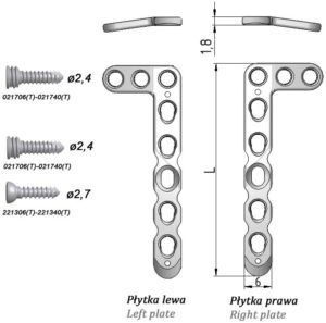"""Płytka blokowana """"L"""" do nasady dalszej kości promieniowej (szeroka)"""
