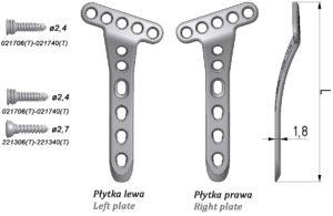 Płytka blokowana dłoniowa T, skośna