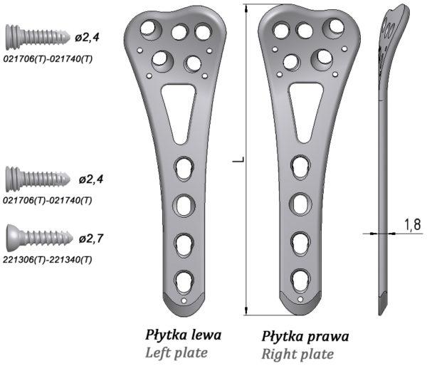Płytka blokowana do nasady dalszej kości promieniowej, dłoniowa wąska