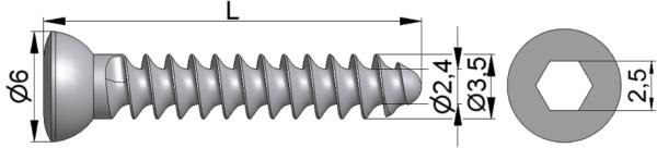Wkręt do kości drobnych Ø3,5/2,4mm