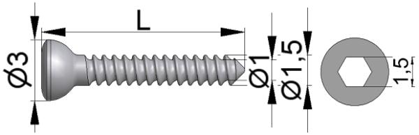 Wkręt do kości drobnych Ø1,5/1,0mm