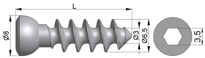 Wkręt do kości gąbczastej Ø6,5/3,0mm pełnogwintowany