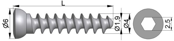 Wkręt do kości łódkowatej Ø4,0/1,9mm pełnogwintowany