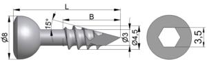 Wkręt kostkowy Ø4,5/3,0mm trokar B=10-37mm
